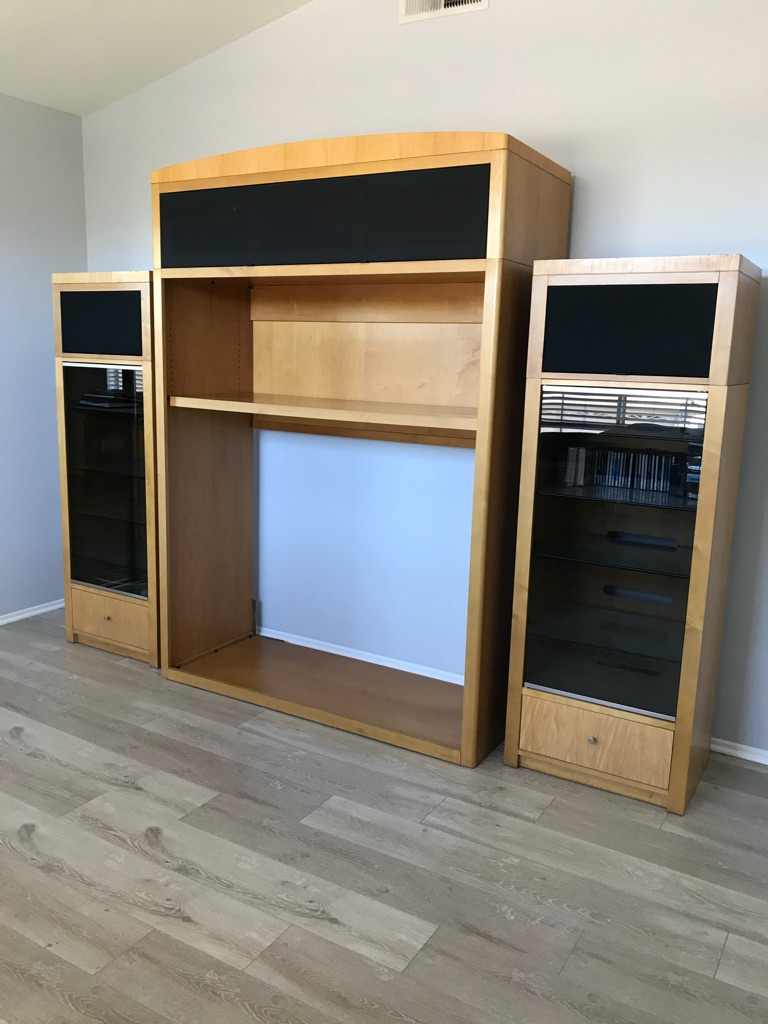 3 piece solid wood entertainment center
