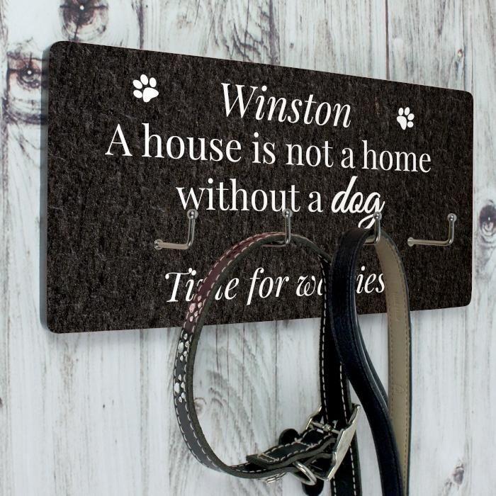Personlised dog walkies hook plaque