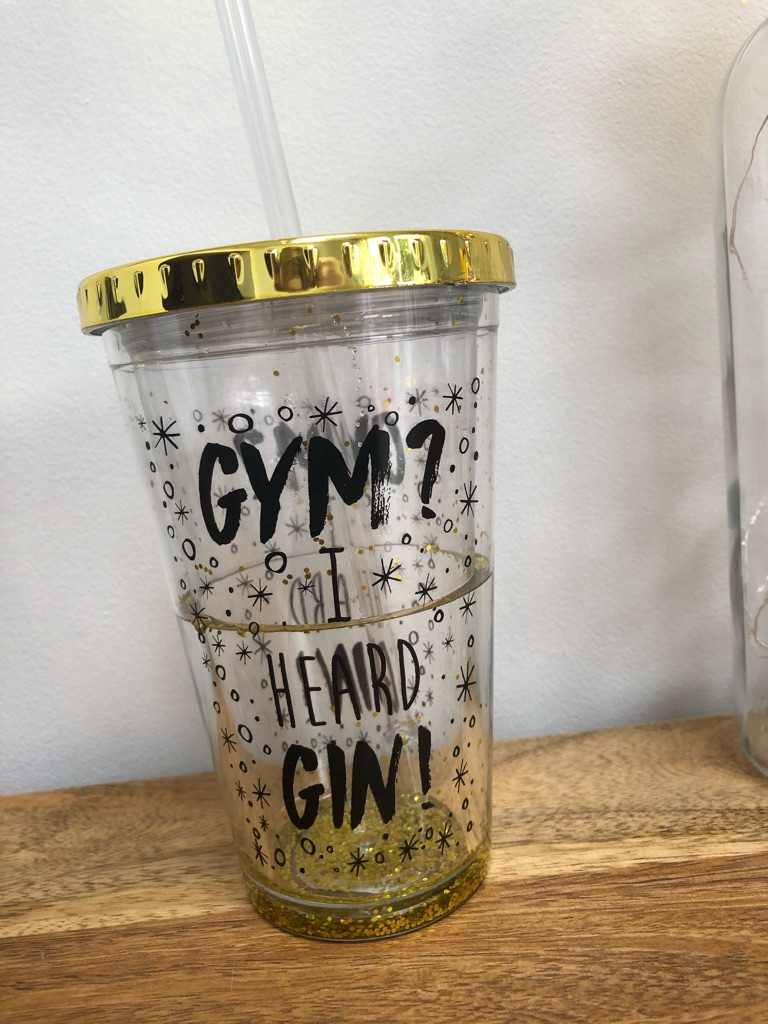 Gold Plastic Straw Cup