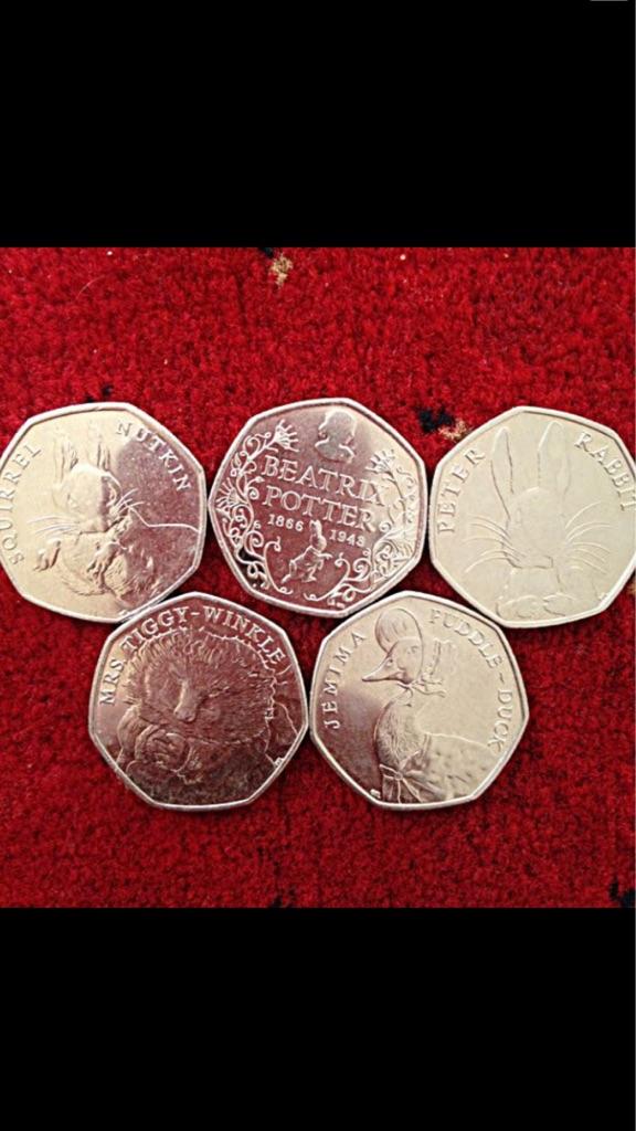 50p coin full set of Beatrix potter 2016.