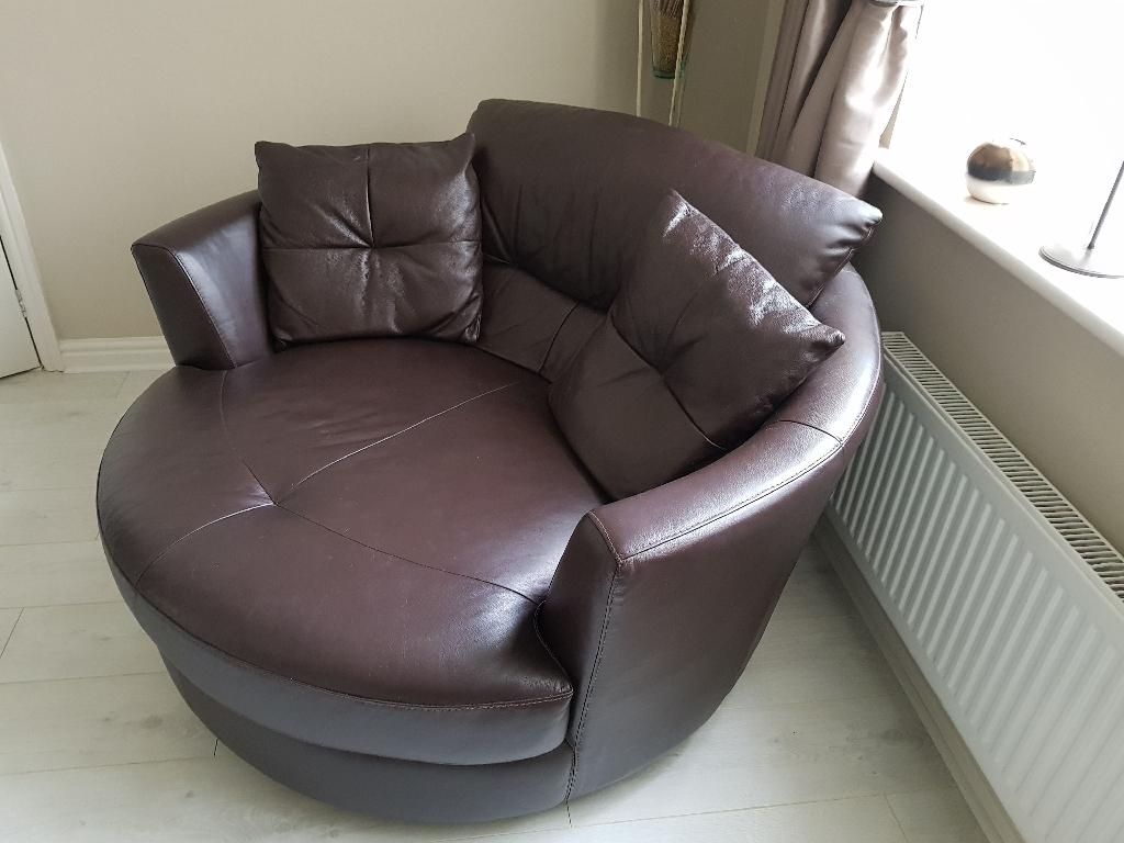Brown leather cuddler
