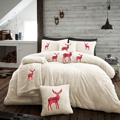 Stag embroidered teddy bedding