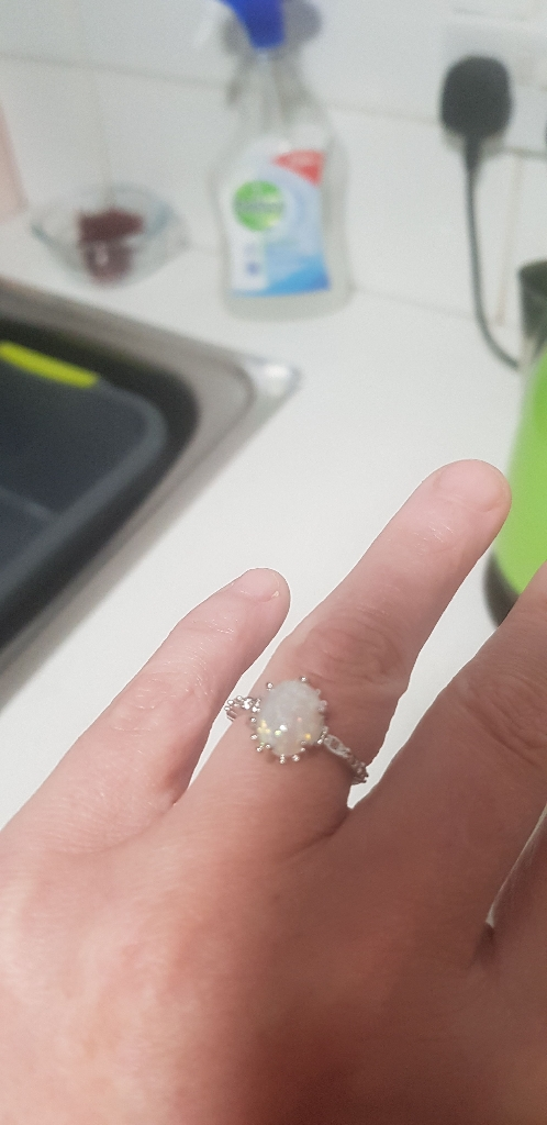 Silver simulated opal ring