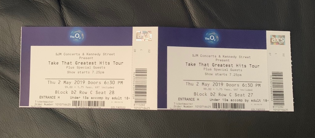 2 Take That Tickets and over night hotel London