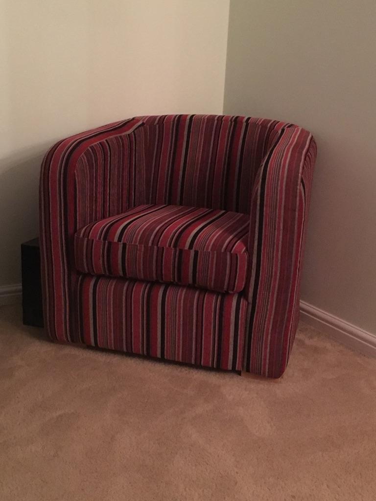 Pink stripy tub chair