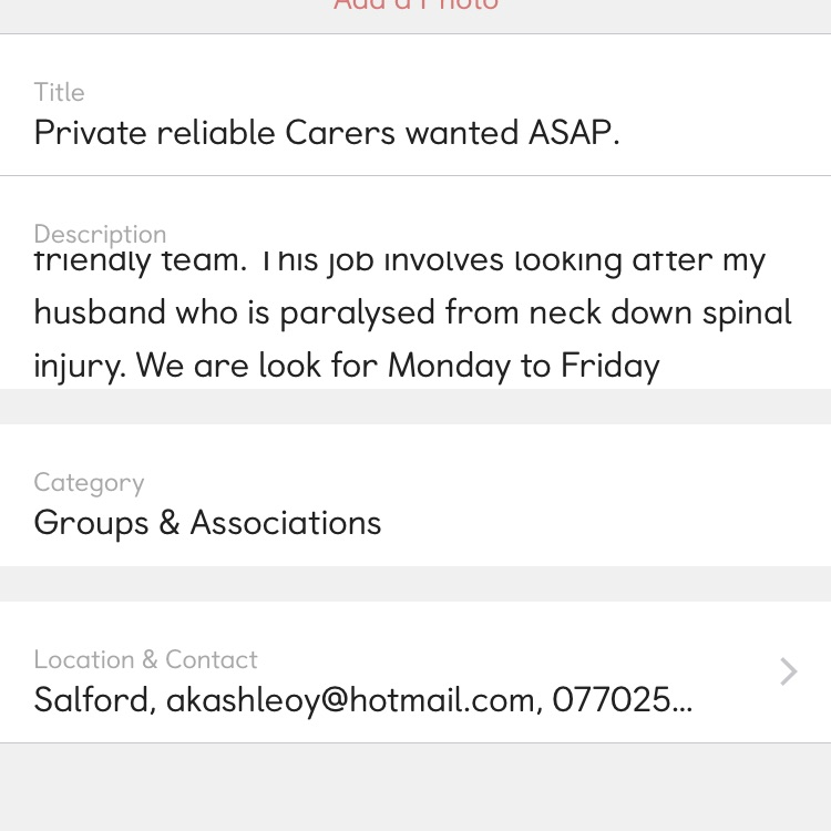 Private reliable carers required