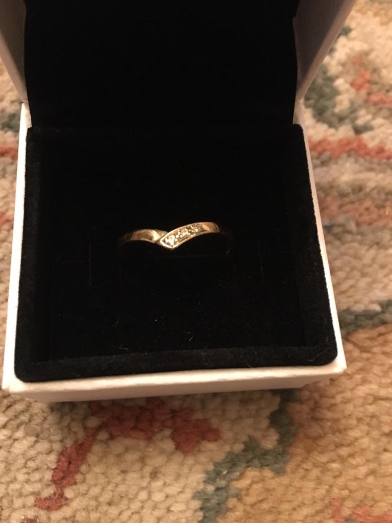 9ct gold wishbone ring