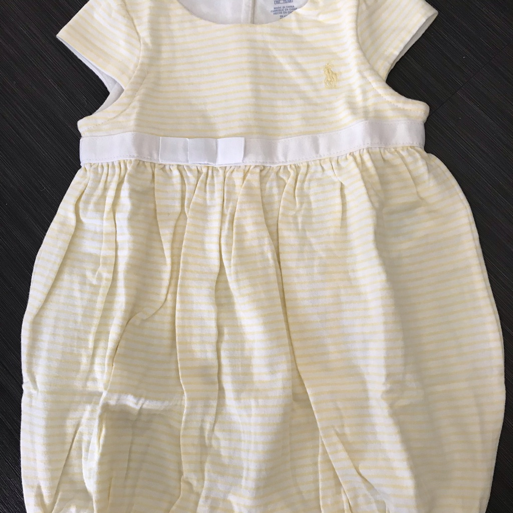 Ralph Lauren Yellow & White Romper 9M NWT