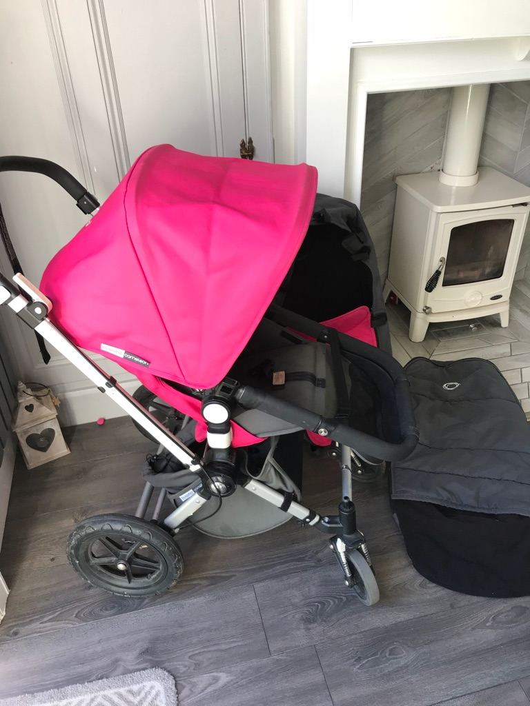 Bugaboo pram cot, footmuff and umberella