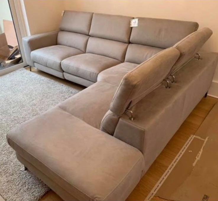 New grey corner sofa with electric seat