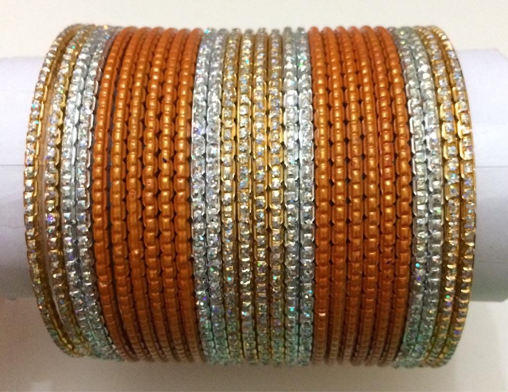 Orange, Silver and Gold Bracelet