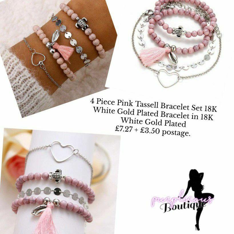 4 Piece Pink Tassell Bracelet Set