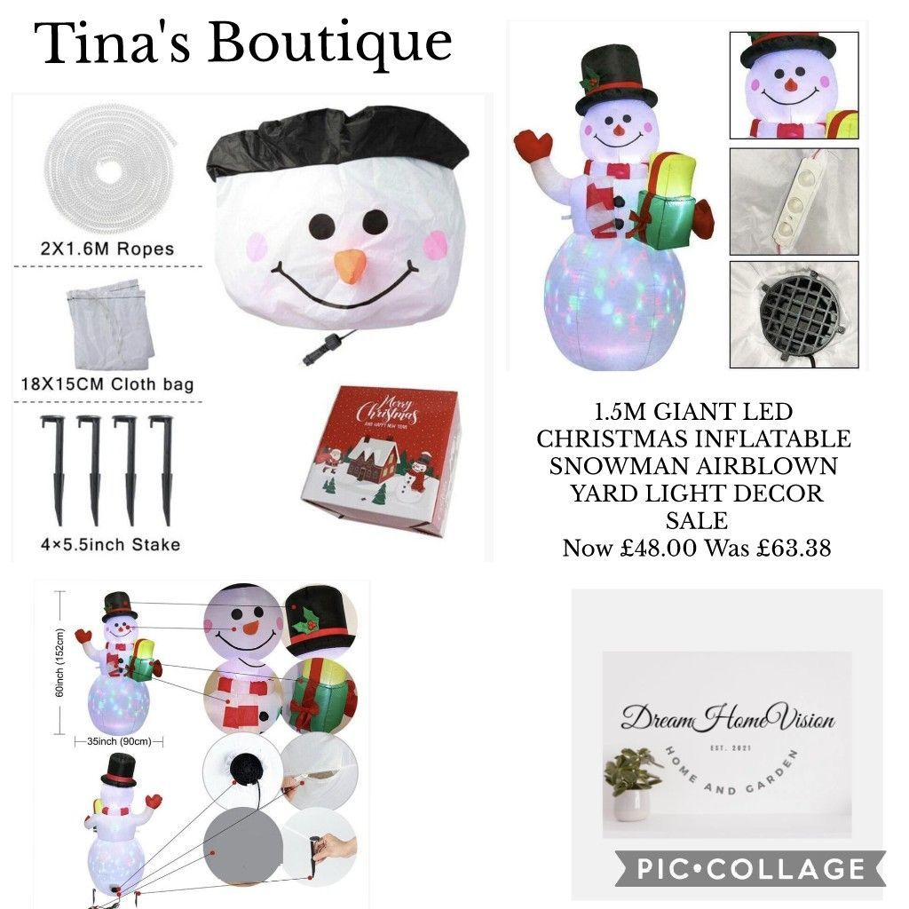1.5M GIANT LED CHRISTMAS INFLATABLE SNOWMAN AIRBLOWN YARD LIGHT DECOR Now £48.00 Was £63.38