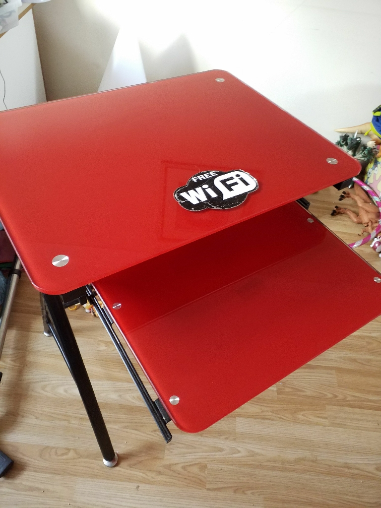 Red Glass Computer Table