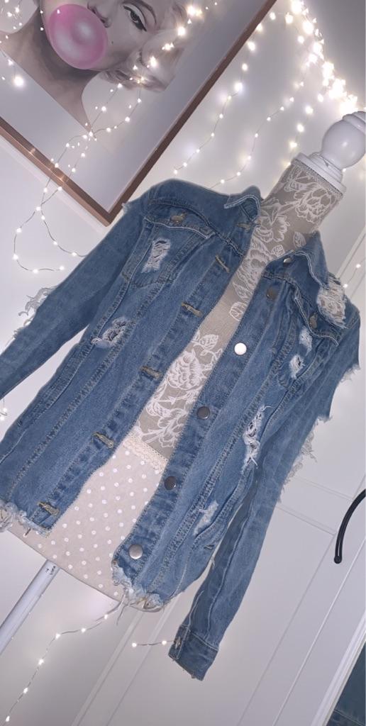 Distressed Mid wash Denim jacket