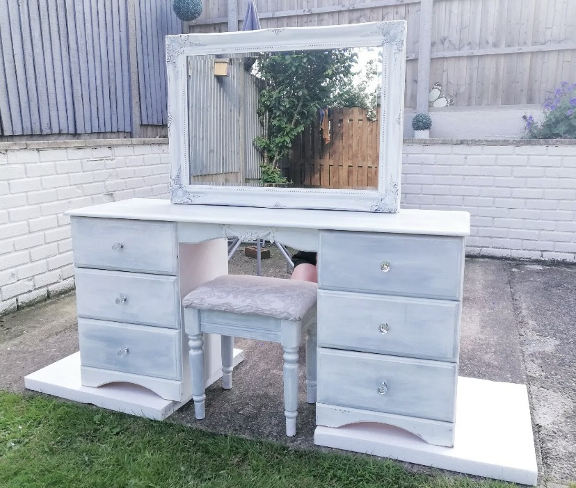 Dressing table and stool plus large matching mirror, bedside tables and small chest of draws