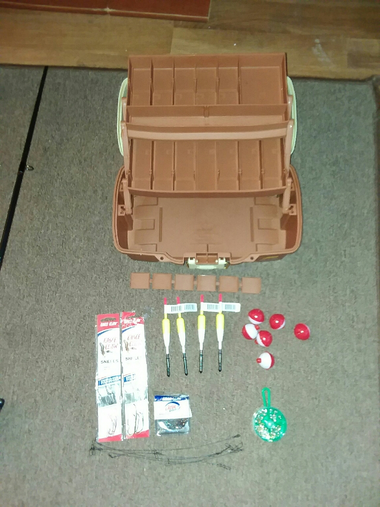 Ugly stick fishing  rod and some tackle and box