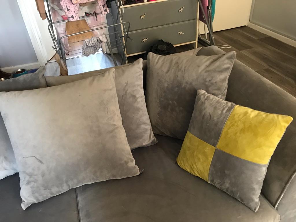 Grey velvet sofa - great condition!