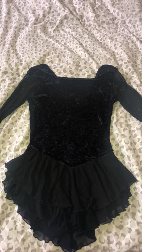 Black velvet figure skating dress (with sleeves )