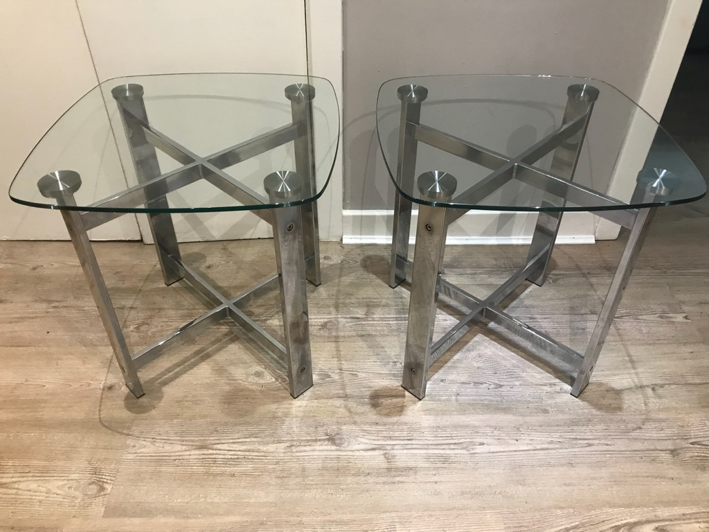 Solid glass side tables