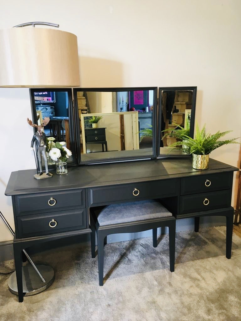 Stag Minstrel dressing table, stool, triple vanity mirror. (Matching items available)