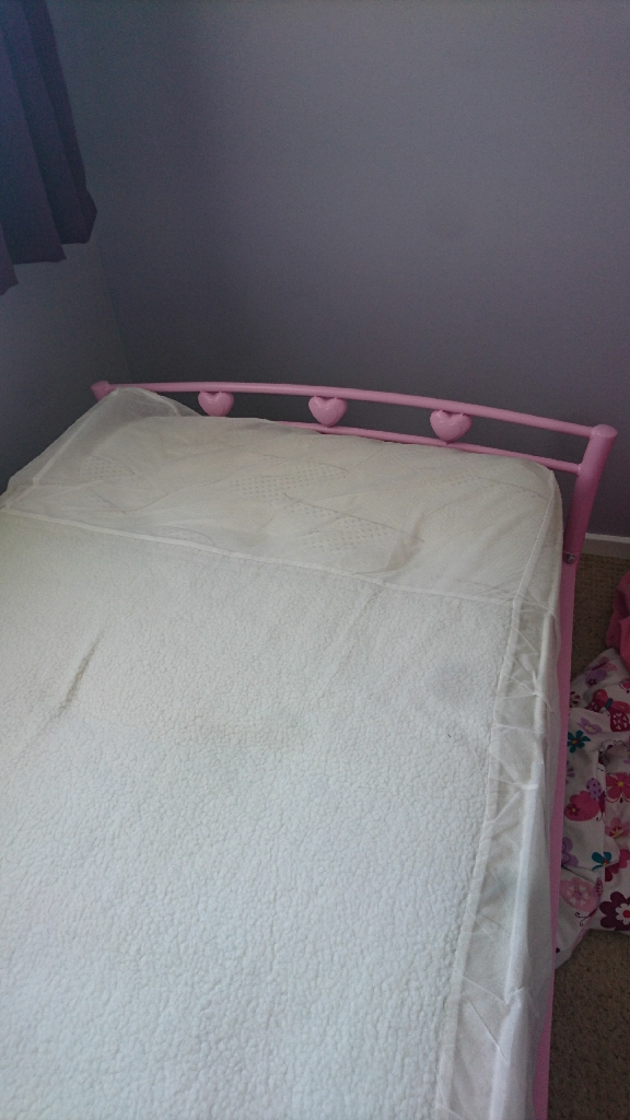 Pink metal single bed and mattress