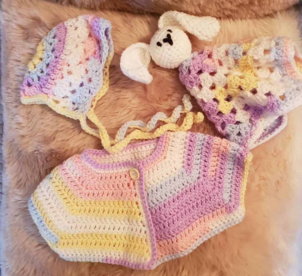 Handmade crochet baby gift set