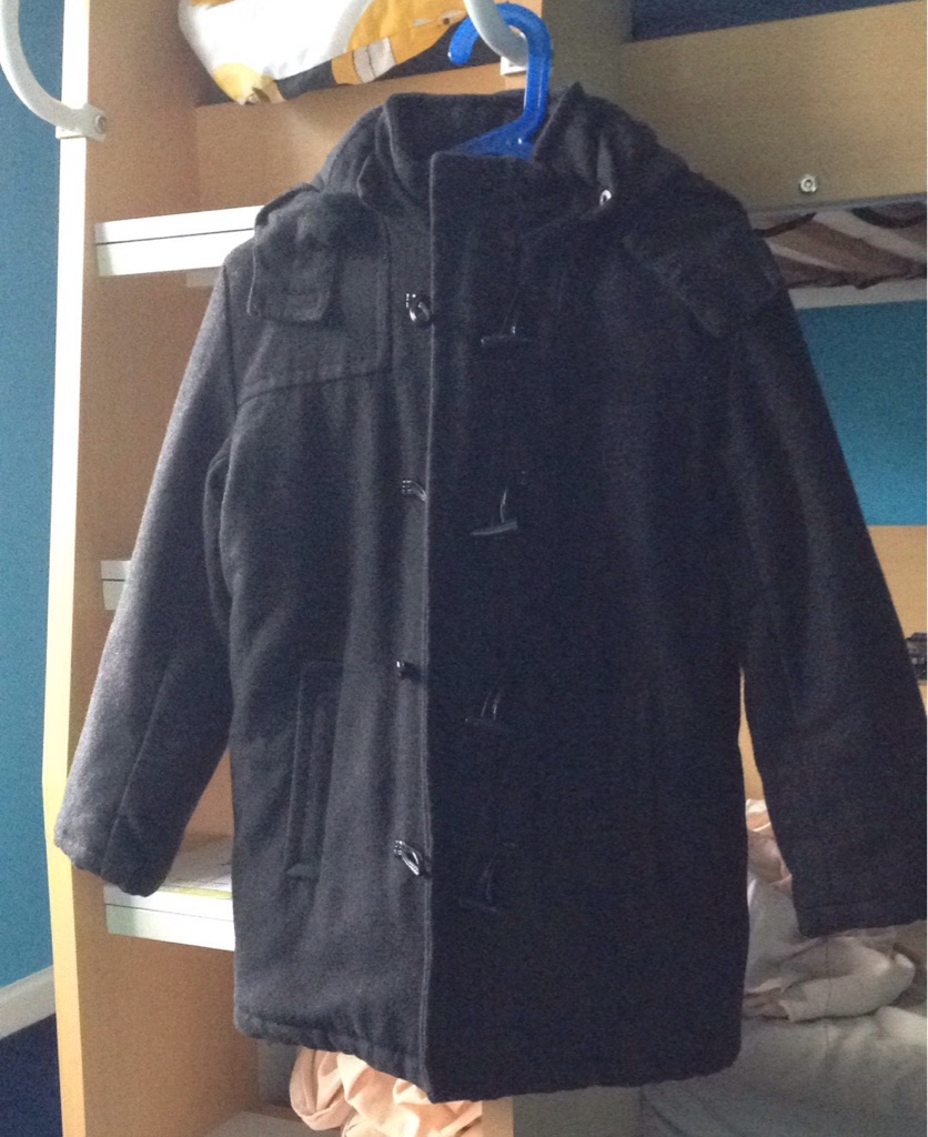 Black fabric coat age 9-10 yrs