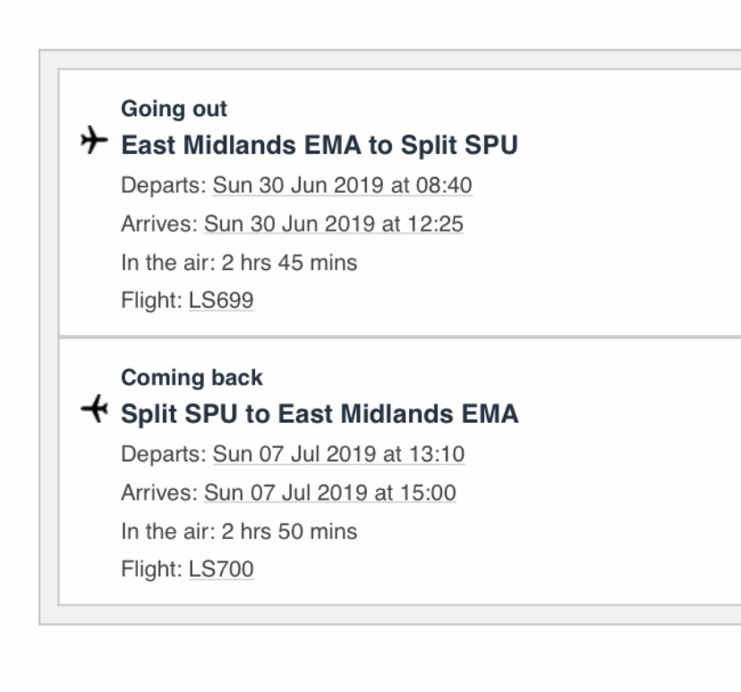 2 Return flights from East Midlands to Split Croatia, ideal for hideout festival