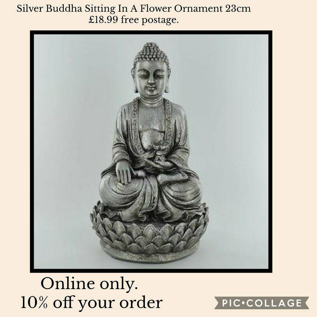 Silver Buddha Sitting In A Flower Ornament 23cm