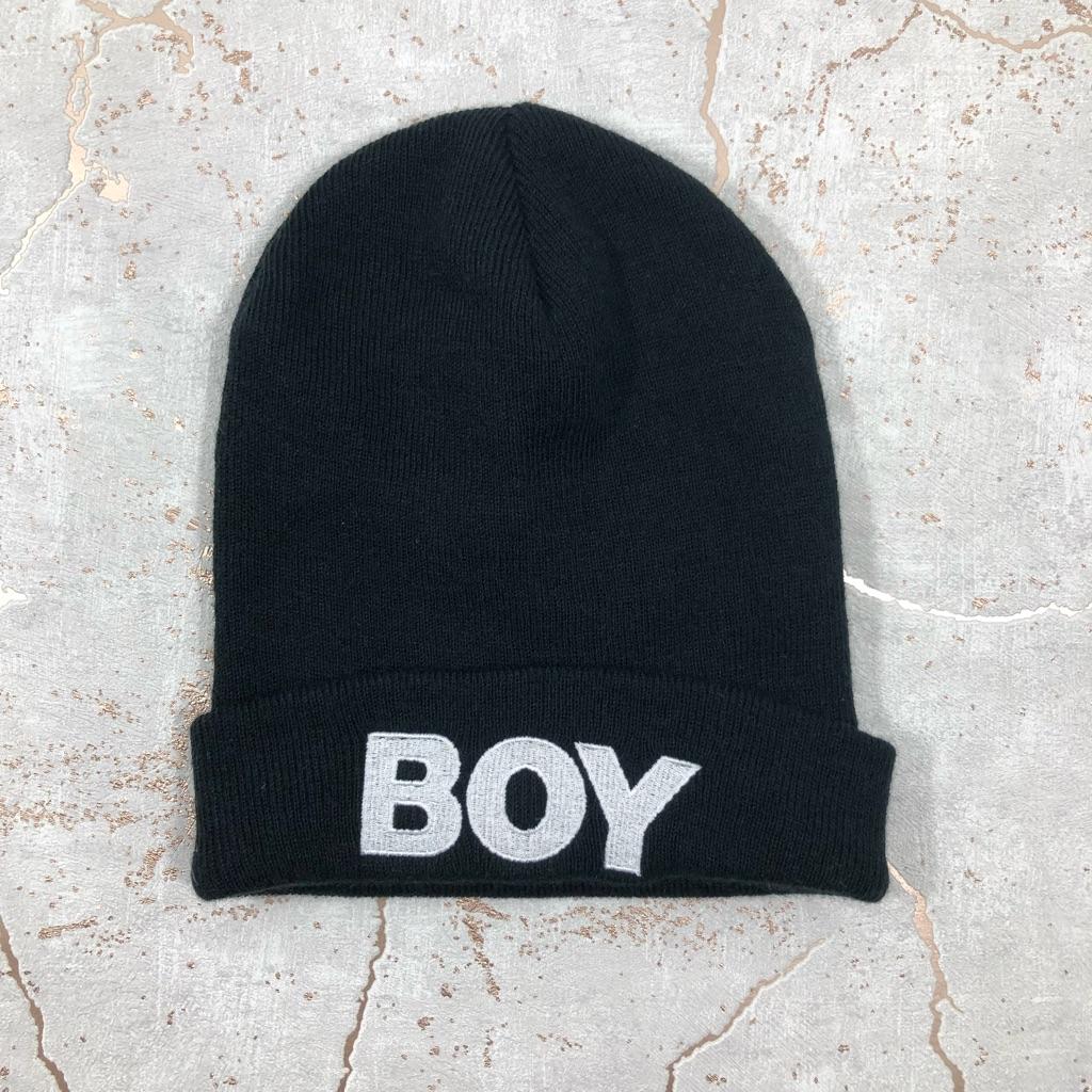 BOY black beanie hat