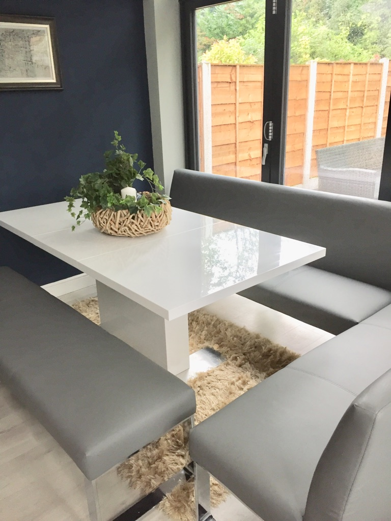 White gloss dining table with Grey corner bench seat and grey bench
