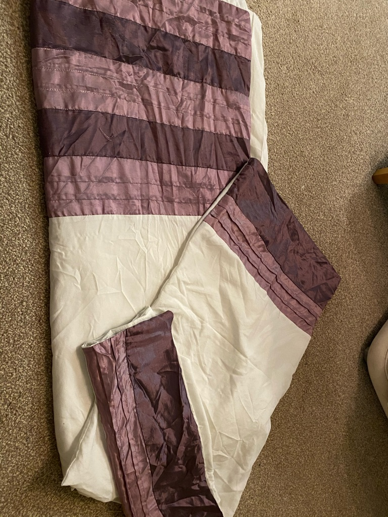purple and cream bedding set