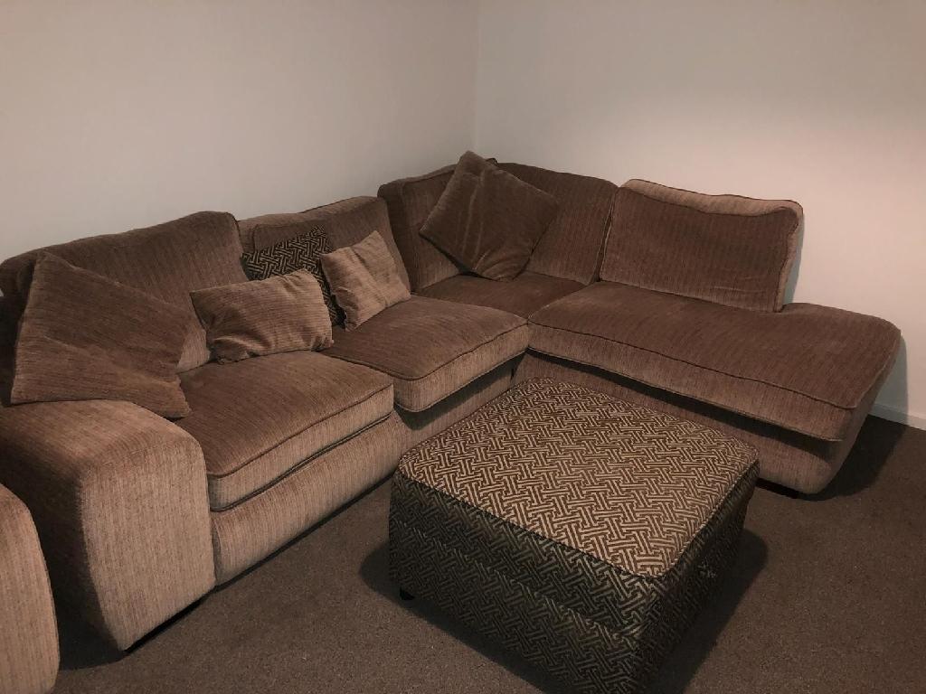 Sofology corner sofa chair and footstool