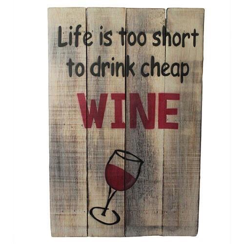Rough Wooden Sign 'Cheap Wine