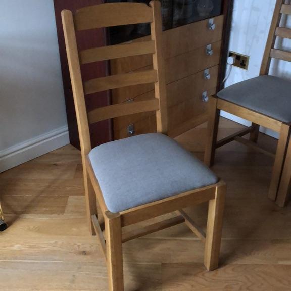 2 Pendleton oak dining chairs