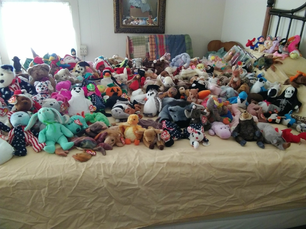 Bed full of beanie babies