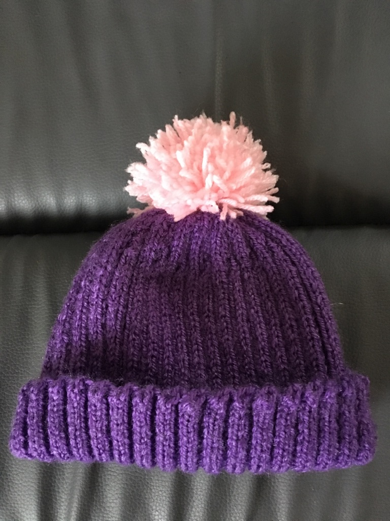 Girls hand knitted Woolly Hat