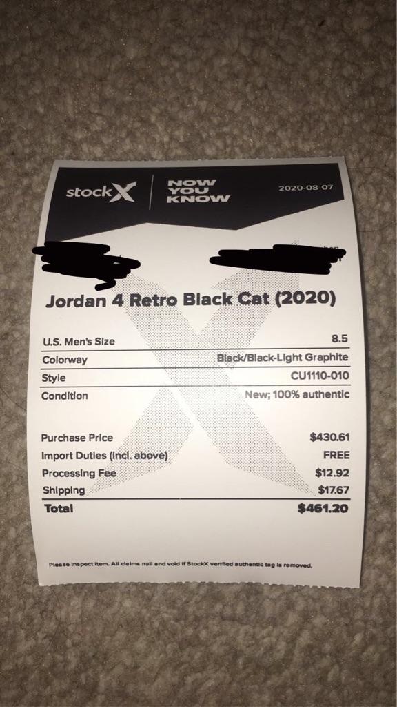JORDAN 4 RETRO BLACK CATS SIZE 8.5