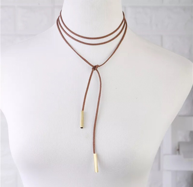 New brown suede choker