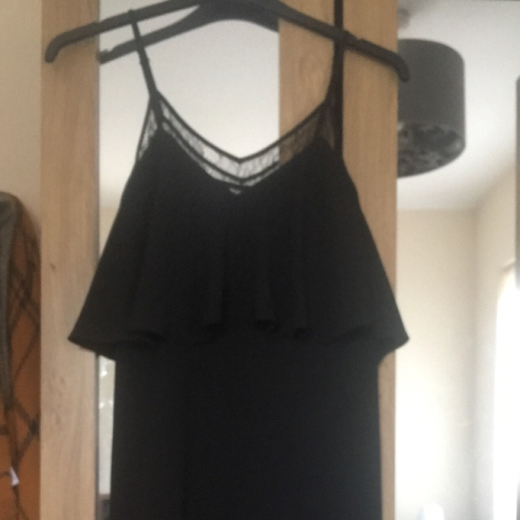 Black Lace Chest Peplum Dress