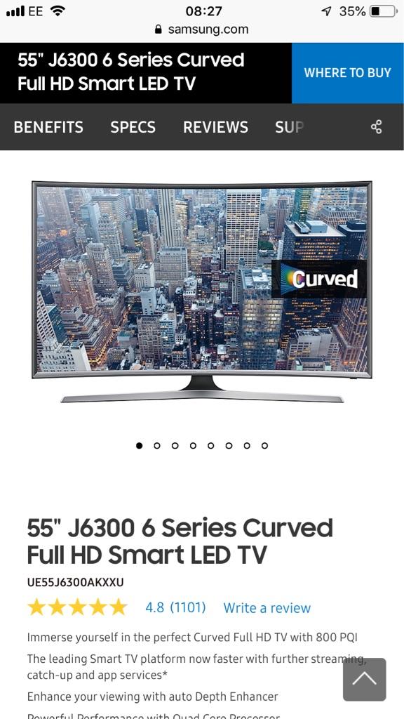 Samsung 55' curved smart tv