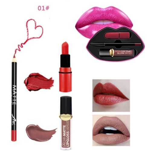 MK 3pcs lipstick, lip gloss & lip liner set + lip shaped tin 1