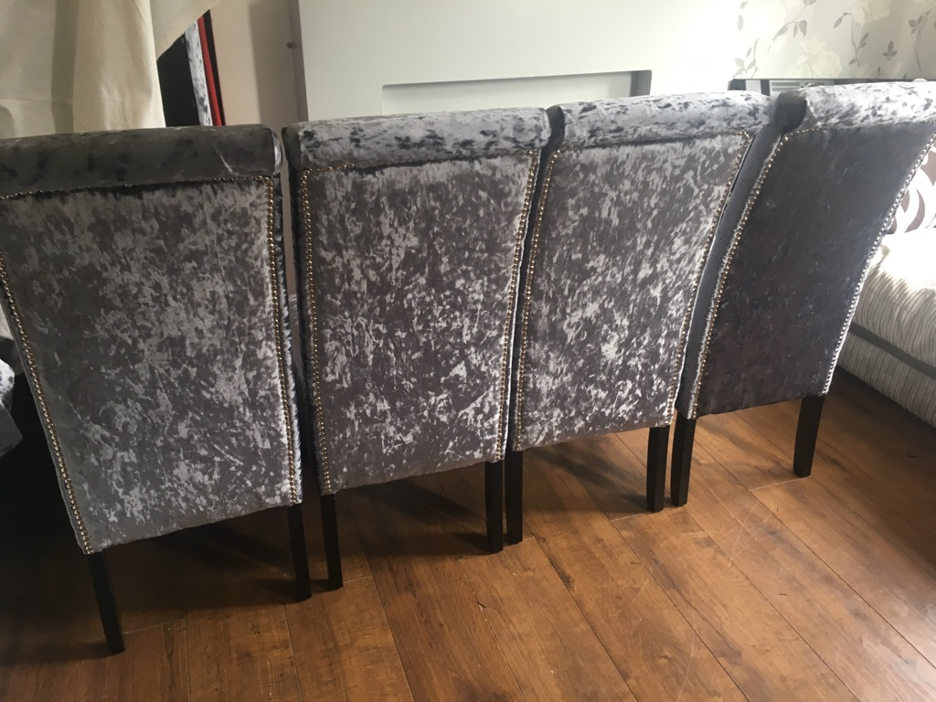Set of slate grey crushed velvet chairs