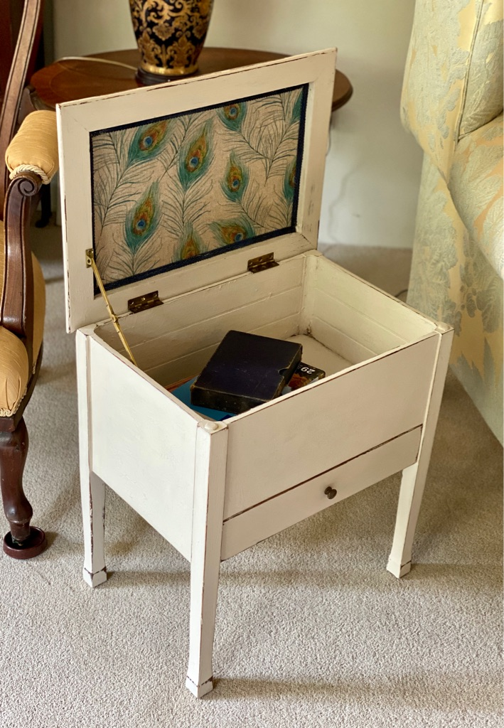 Upcycled antique sewing table