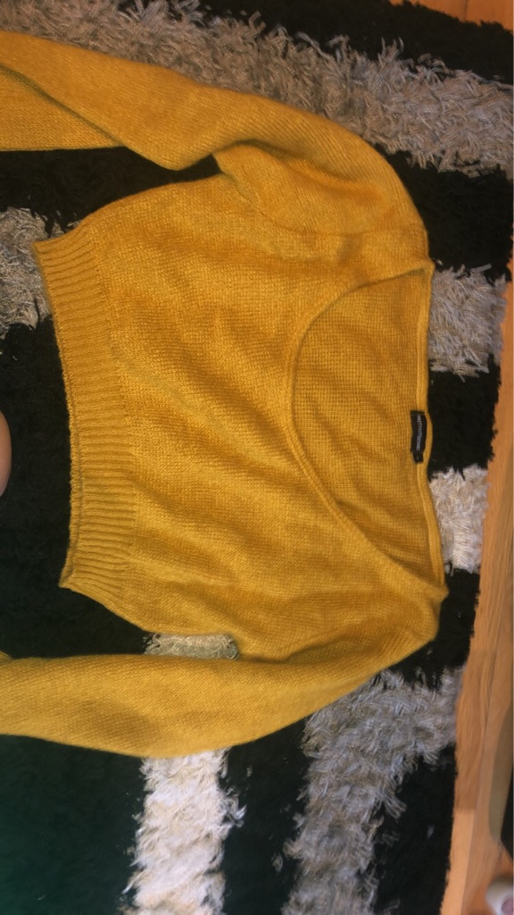 Pretty little thing Mustard off shoulder knitted jumper (crop)