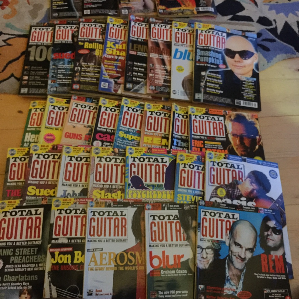 32 total guitar magazines 1996-2000 mixed lot no cds