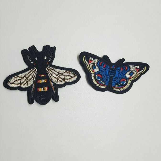 2 Bug Patch Set (Sew On) Bee & Butterfly