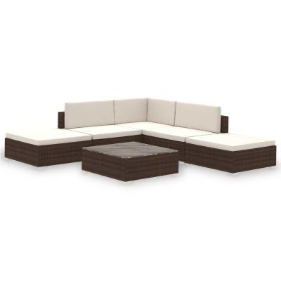 6 PIECE GARDEN LOUNGE SET WITH CUSHIONS POLY RATTAN BROWN - free delivery