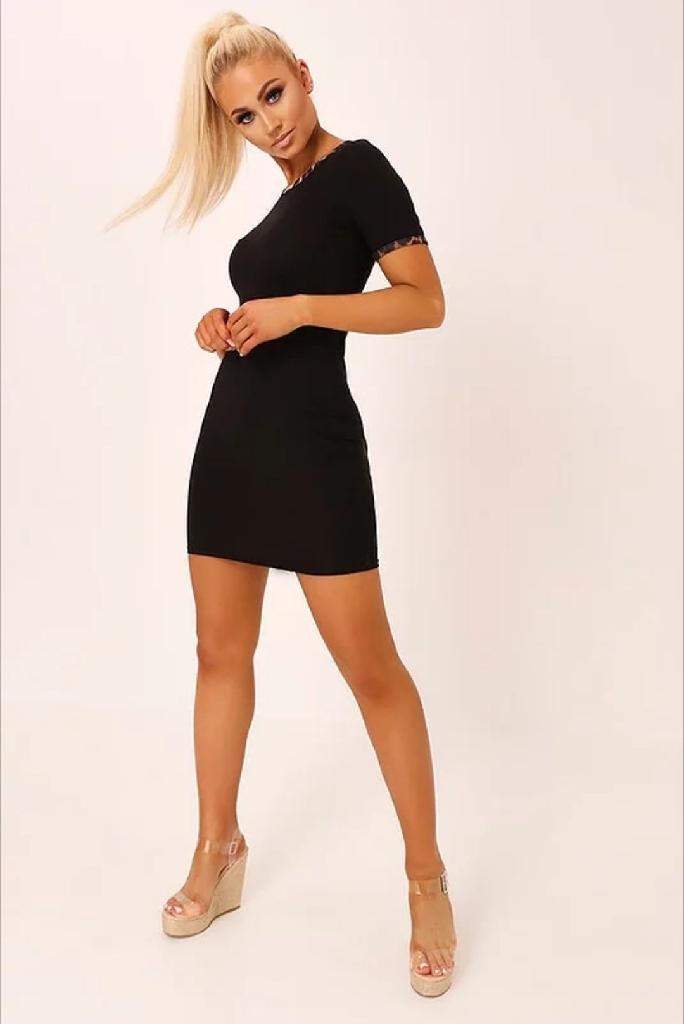 Black Leopard Binding Bodycon T-Shirt Dress